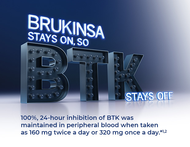 BRUKINSA STAYS ON, SO BTK STAYS OFF. 100%, 24-hour inhibition of BTK was maintained in peripheral blood when taken as 160 mg twice a day or 320 mg once a day.*1,2